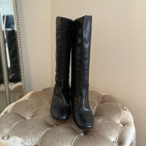 Frye Black Leather Pull On Riding Boots Size 6